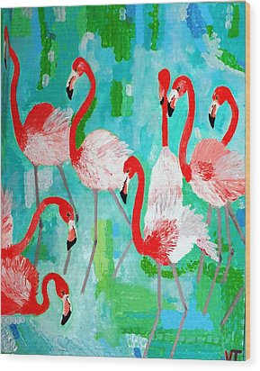 Flamingos 2 Wood Print