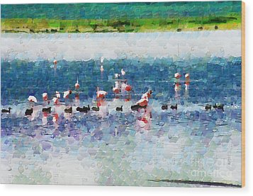 Flamingos And Ducks Painting Wood Print by George Fedin and Magomed Magomedagaev