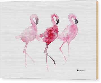 Flamingos Painting Watercolor Art Print Wood Print by Joanna Szmerdt