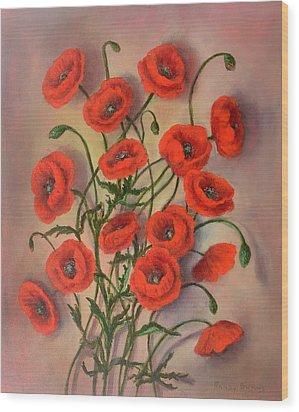 Flander's Poppies Wood Print by Randy Burns