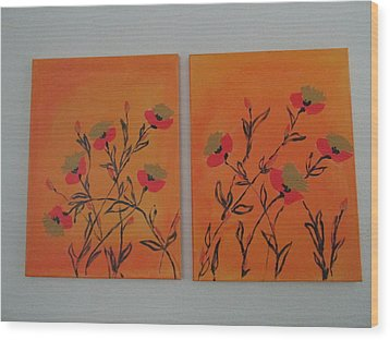 Flanders Poppies Wood Print by Sharyn Winters