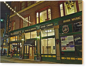 Flannerys Pub Wood Print by Frozen in Time Fine Art Photography