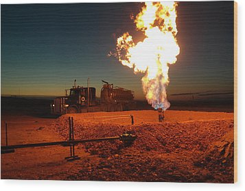 Flare And A Vacuum Truck Wood Print