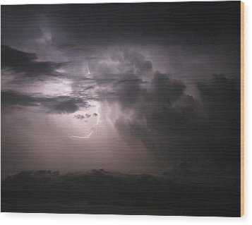 Flashes Of Lightening Wood Print