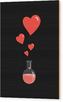 Flask Of Hearts Wood Print