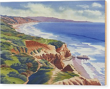 Flat Rock And Bluffs At Torrey Pines Wood Print