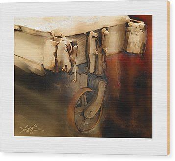 Wood Print featuring the painting Flatbed Trolley by Bob Salo