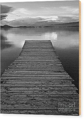 Flathead Lake Dock Sunset - Black And White Wood Print by Brian Stamm