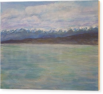 Flathead Lake Montana Wood Print by Helen Campbell