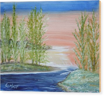 Flathead Lake Sunset Wood Print