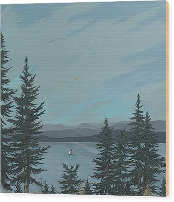 Flathead Sailboat Wood Print by John Wyckoff