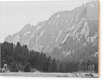 Flatiron In Black And White Boulder Colorado Wood Print by James BO  Insogna