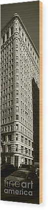Flatiron In Sepia Wood Print by David Bearden