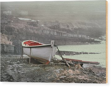 Flatrock Boat In Winter Wood Print by Douglas Pike