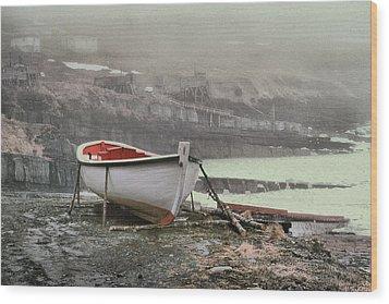 Flatrock Boat In Winter Wood Print