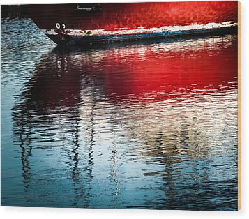 Red Boat Serenity Wood Print by Karen Wiles