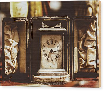 Flea Market Series - Clock Wood Print by Marco Oliveira