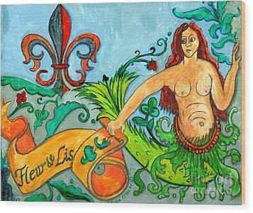 Fleur De Lis Mermaid Wood Print by Genevieve Esson