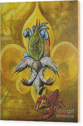 Fleur De Lis Wood Print by Theon Guillory