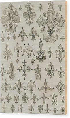 Fleur De Lys Designs From Every Age And From All Around The World Wood Print by Jean Francois Albanis de Beaumont