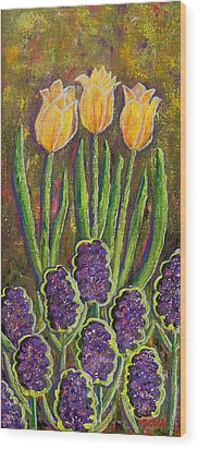 Fleurs D' Tulips And Hyacinths Wood Print