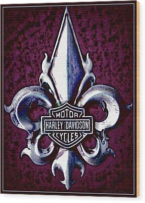 Fleurs De Lys With Harley Davidson Logo Wood Print