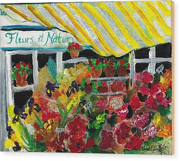 Fleurs Et Nature Wood Print by Elaine Elliott