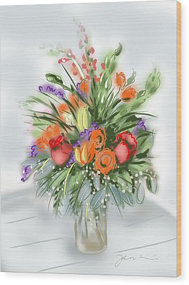 Wood Print featuring the painting Fleurs Pour Moi by Jean Pacheco Ravinski