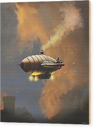 Flight At Sunset Wood Print by Ken Morris