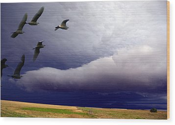 Wood Print featuring the photograph Flight Into The Storm by Yvonne Emerson AKA RavenSoul