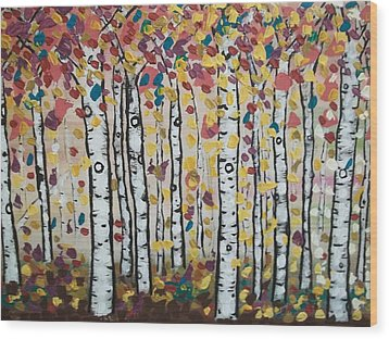 Flight Of Leaves Wood Print