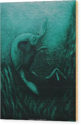Wood Print featuring the painting Flight Of The Green Turtles by Kim Gauge