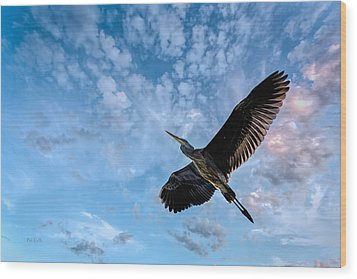 Flight Of The Heron Wood Print by Bob Orsillo