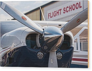 Flight School Wood Print by Andy Crawford