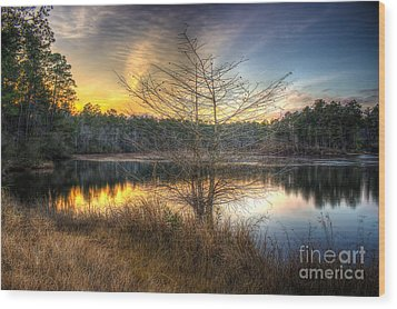 Wood Print featuring the photograph Flint Creek Sundown by Maddalena McDonald