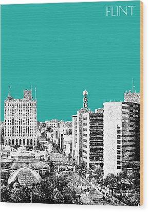 Flint Michigan Skyline - Teal Wood Print by DB Artist