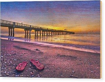Flip-flops Wood Print by Debra and Dave Vanderlaan