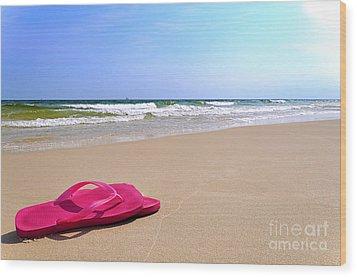 Flip Flops On Beach Wood Print
