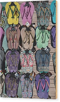 Flip Flops Wood Print by Peter Tellone
