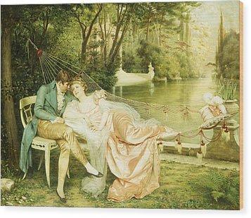 Flirtation  Wood Print by Joseph Frederick Charles Soulacroix