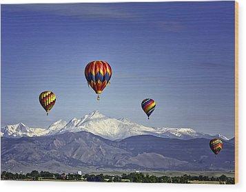 Floating Above Longs Peak Wood Print by Teri Virbickis