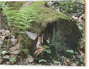 Floating Fairy In Forest Wood Print