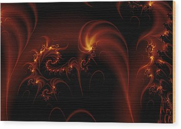 Floating Fire Fractal Wood Print by Fran Riley