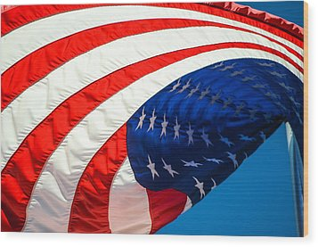 Floating Flag  Wood Print by Mary Ward