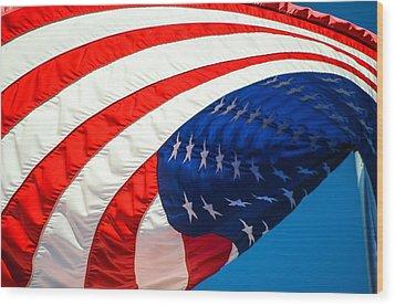 Floating Flag  Wood Print