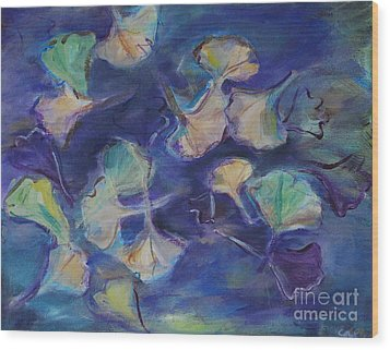 Wood Print featuring the painting Floating Gingko Leaves by Cynthia Lagoudakis