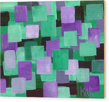Floating Green And Purple Squares Wood Print by Art by Kar