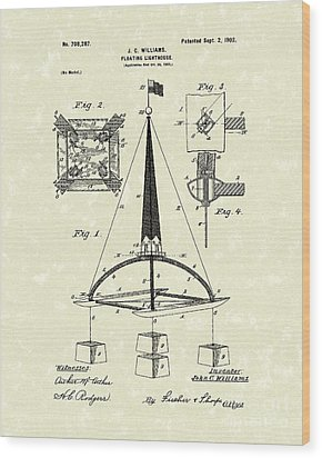 Floating Lighthouse 1902 Patent Art Wood Print by Prior Art Design