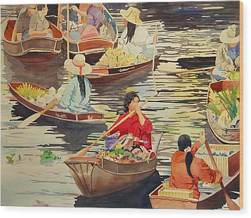 Floating Market Wood Print by Terry Holliday