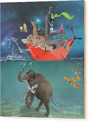 Floating Zoo Wood Print